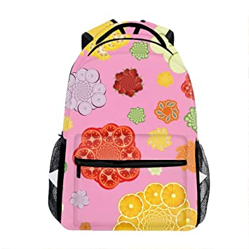 df7efbbae257 Amazon.com: Fruits Flowers Pink Backpack for Kids School Laptop ...