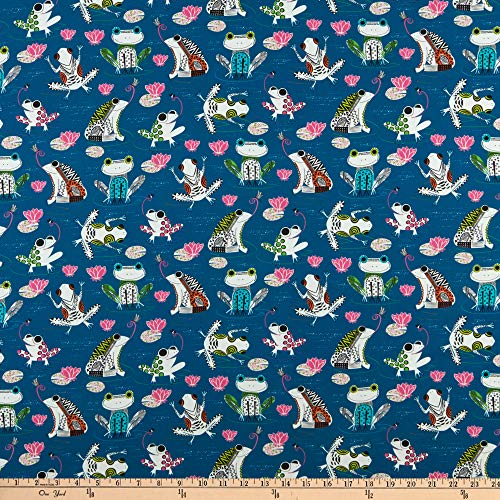 Fabric & Fabric QT Fabrics Hop to It Frogs Navy
