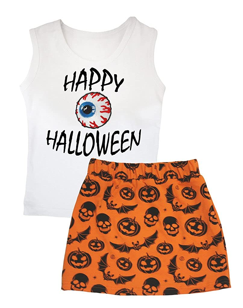 Petitebella Happy Halloween Eyeball White Vest Pumpkin Bat Orange Skirt Set 1-8y
