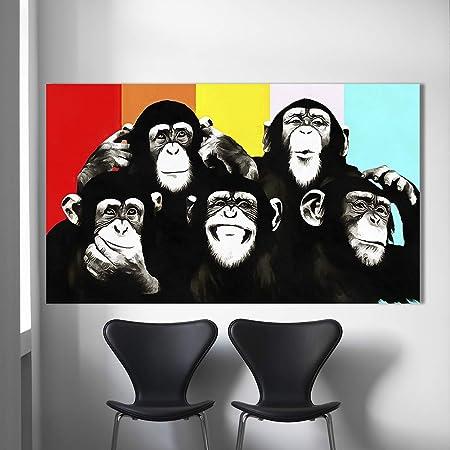 Orlco Art Animal Peinture à L Huile Sur Toile Pop Art Funny