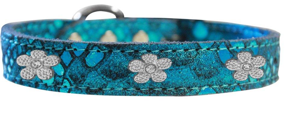 Mirage Pet Products 83-99 BL10 Silver Flower Widget Dragon Skin Genuine Leather Dog Collar, Size 10, bluee