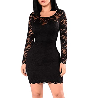 e1c03c61141 Miishare Women s Floral Lace Long Sleeve Bodycon Cocktail Party Dresses