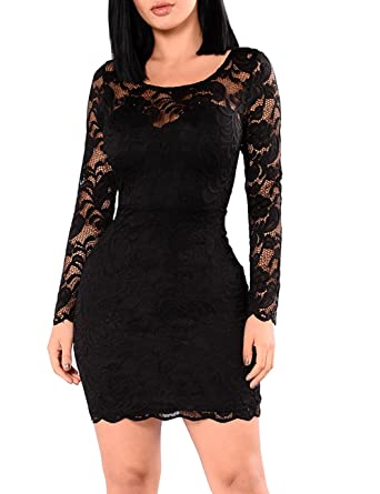 d2d388c241f62 Miishare Bohai Women s Floral Lace Long Sleeve Bodycon Cocktail Party  Dresses Black