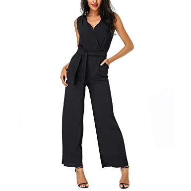 a07c40ac1089 Cheryl Bull Elegant Front Self Tie Women Rompers Work Wear Ladies  Sleeveless Twin Pockets Jumpsuit Black