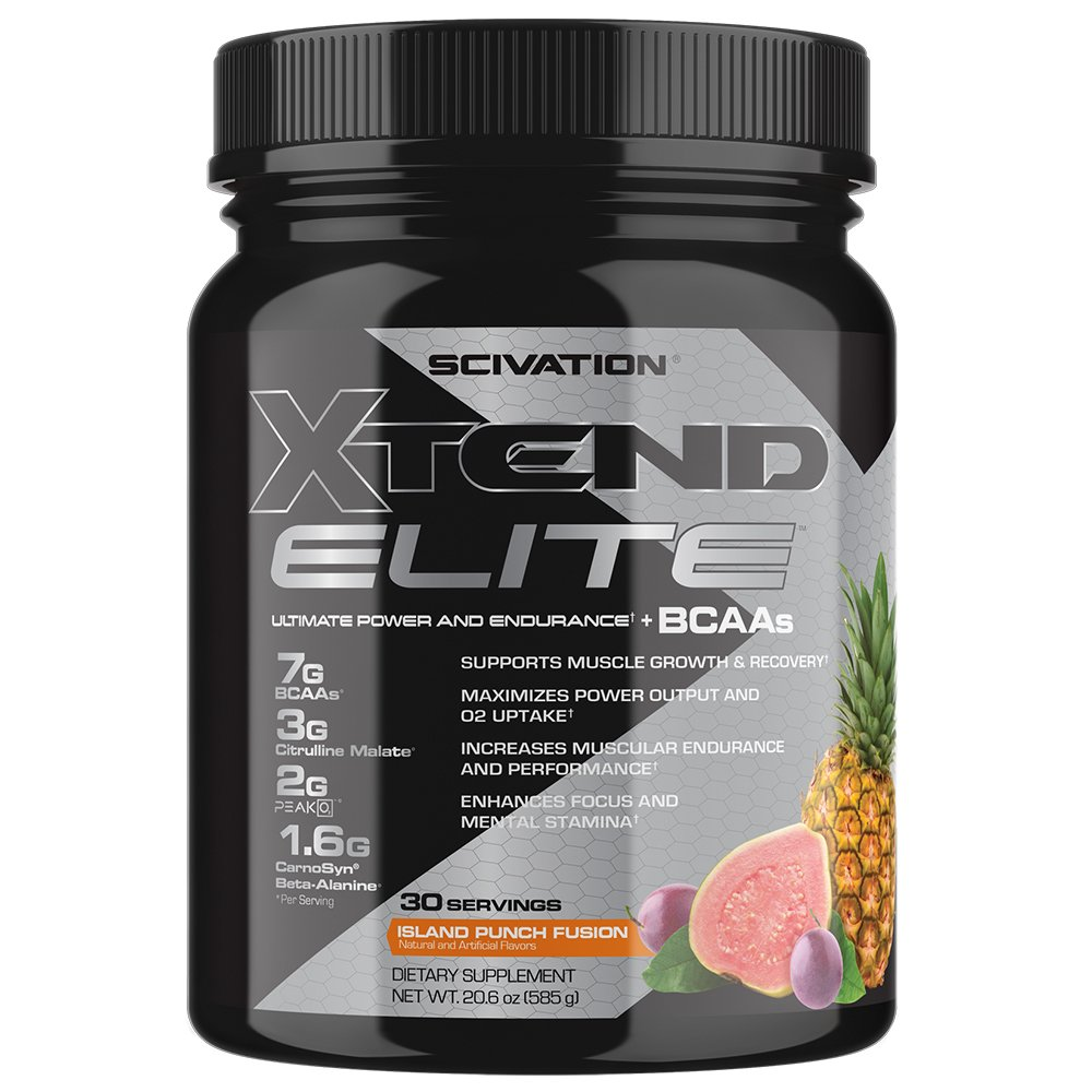 Scivation Xtend Elite BCAA Powder, Branched Chain Amino Acids, BCAAs, Island Punch Fusion, 30 Serving