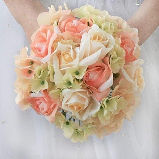 Artificial Silk Flowers Cream and Pink Rose Hydrangea Wedding Bouquet