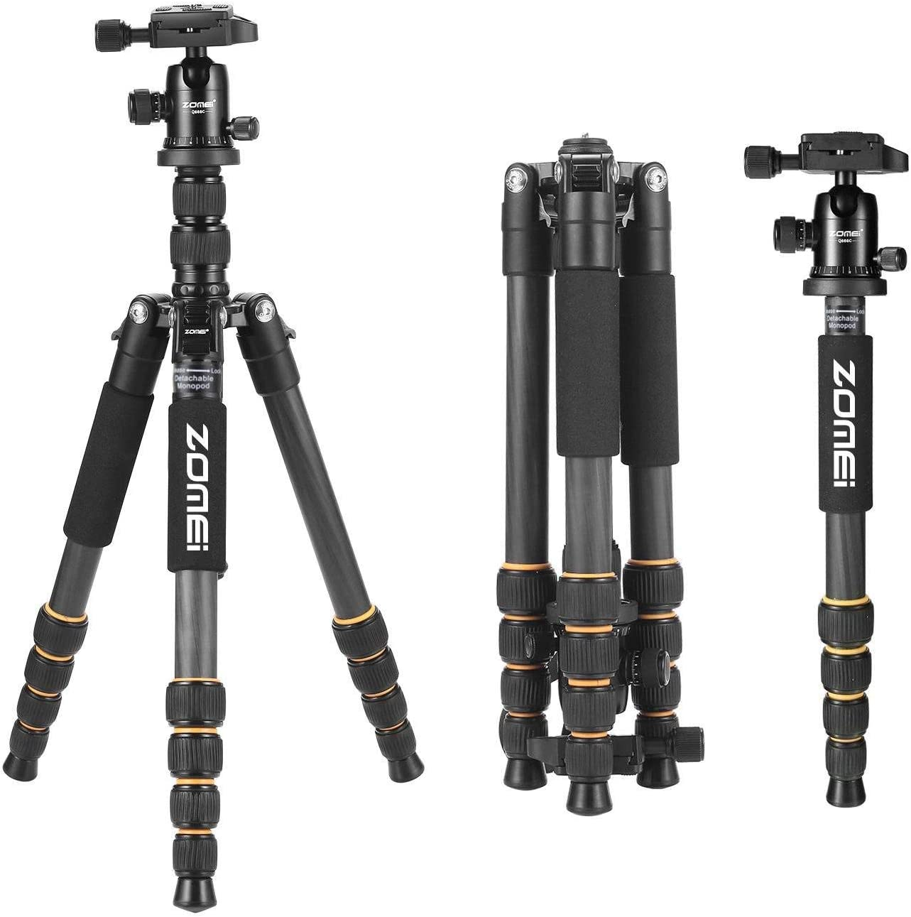 Lbzbz Carbon Fiber Q666C Tripod Heavy Duty Lightweight Travel with 360 Degree Ball Head Compact