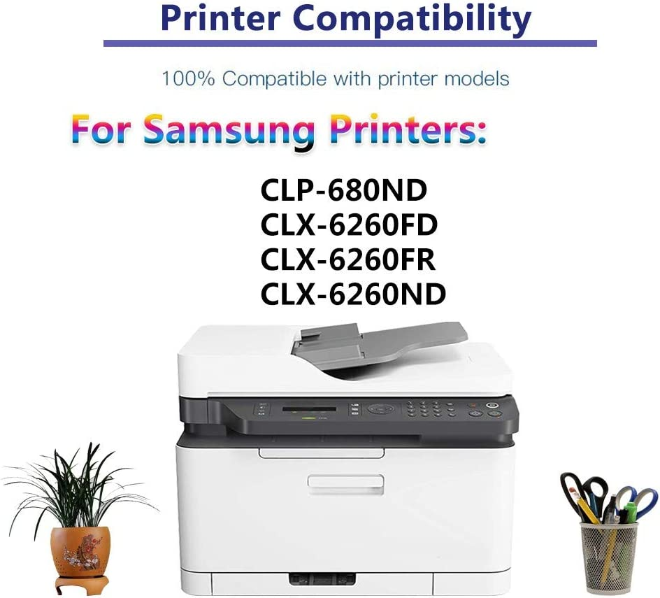 High Yield C+Y+M Replacement for Samsung CLT-506L CLT506L Toner Cartridge use for Samsung CLP-680ND CLX-6260FD CLX-6260FR CLX-6260ND Printer 3-Pack Compatible Color Toner Cartridge