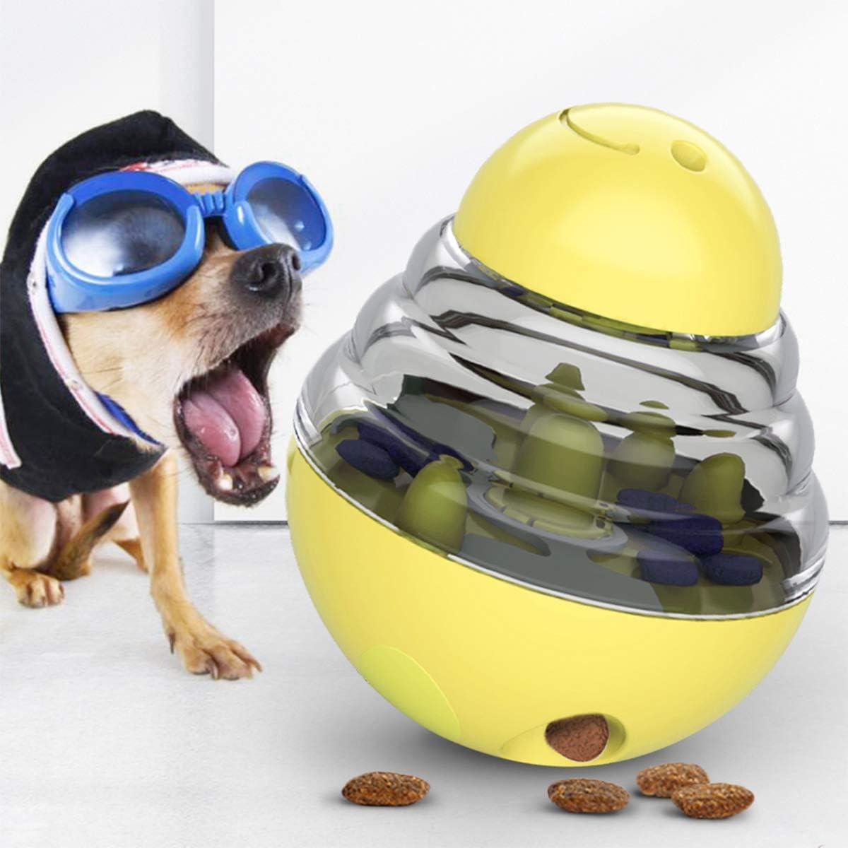 Dog Tumbler Treat Ball, Food Dispensing Toys, Self-Playing Pet Training Toy (Yellow)