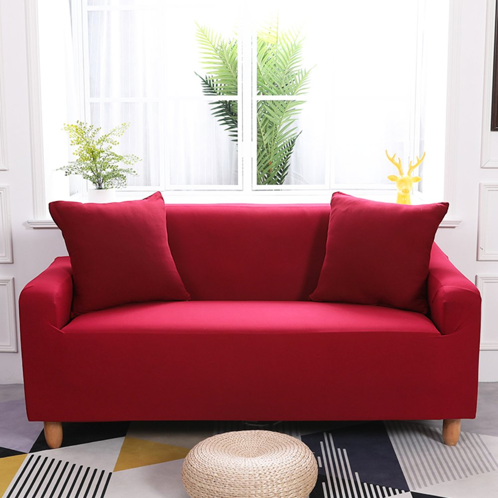 Four Seasons Slipcover Sofa,Anti-Slip Foams Couch,Anti-mite Pet Dog cat Protector Dust Cover Elastic Sofa Couch-red 4 Seater JiaQi