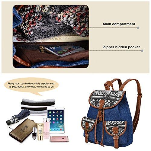 Vbiger Canvas Backpack for Women & Girls Boys Casual Book Bag Sports Daypack (Elephant Black1) by VBIGER (Image #5)