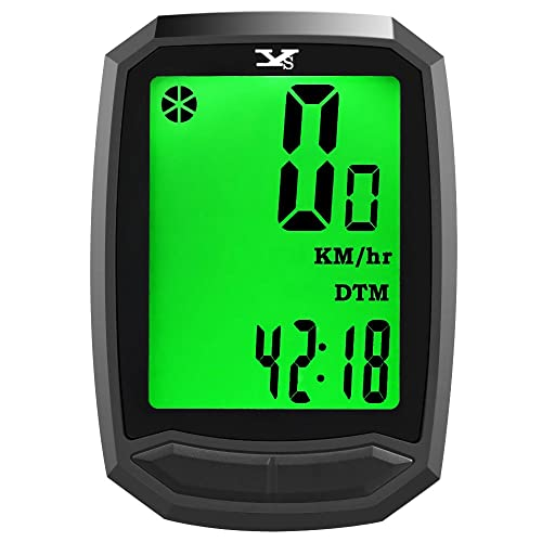 Y&S YS Bicycle Computer Wireless Waterproof Cycling Computer with Backlight Large HD LCD Screen Display & Auto Off 12 Functions Bike Speedometer for Mountain Bike Spin Bike Indoor/Outdoor Exercise