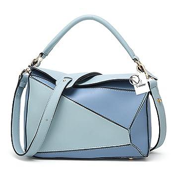 b03fbbd2b64b56 Yoome Frauen Faux Leder Casual Tasche Boston Umhängetasche Kontrast Farbe  Ipad Geldbörsen und Handtaschen - Blau