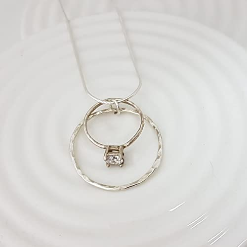 Awesome Karma Circle Wedding Ring Holder Necklace In Sterling Silver 18u0026quot;
