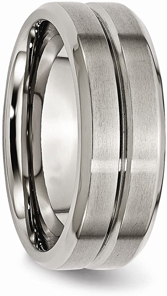 Jewelry Stores Network Mens 8mm Brushed Titanium and Polished Grooved Beveled Edge Wedding Band Ring