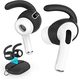 AhaStyle 3 Pairs AirPods Pro Ear Hooks [Added Storage Pouch] Anti-Slip Ear Covers Accessories【Not Fit in The Charging Case】 Compatible with AirPods Pro(Black)