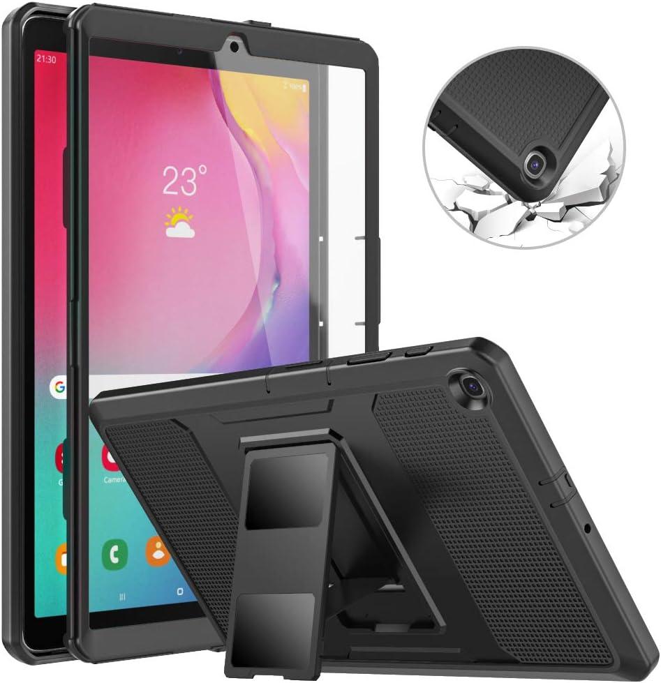 MoKo Funda Compatible con Galaxy Tab A 10.1 2019, Shockproof Híbrido Resistente Smart Case con Protector de la Pantalla Incorporado Compatible con Galaxy Tab A 10.1 inch SM-T510/SM-T515 2019 - Negro