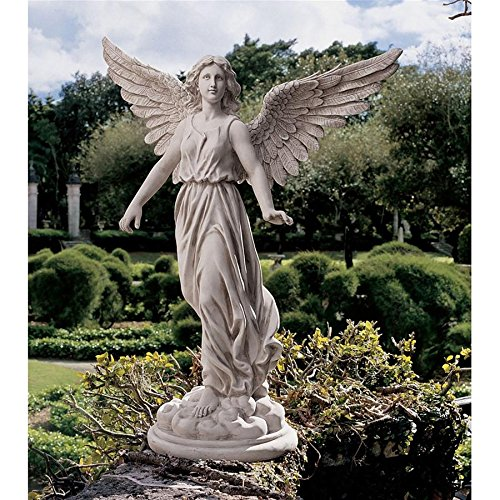 Design Toscano Angel of Patience Statue, Large, 37 Inch, Polyresin, Antique Stone
