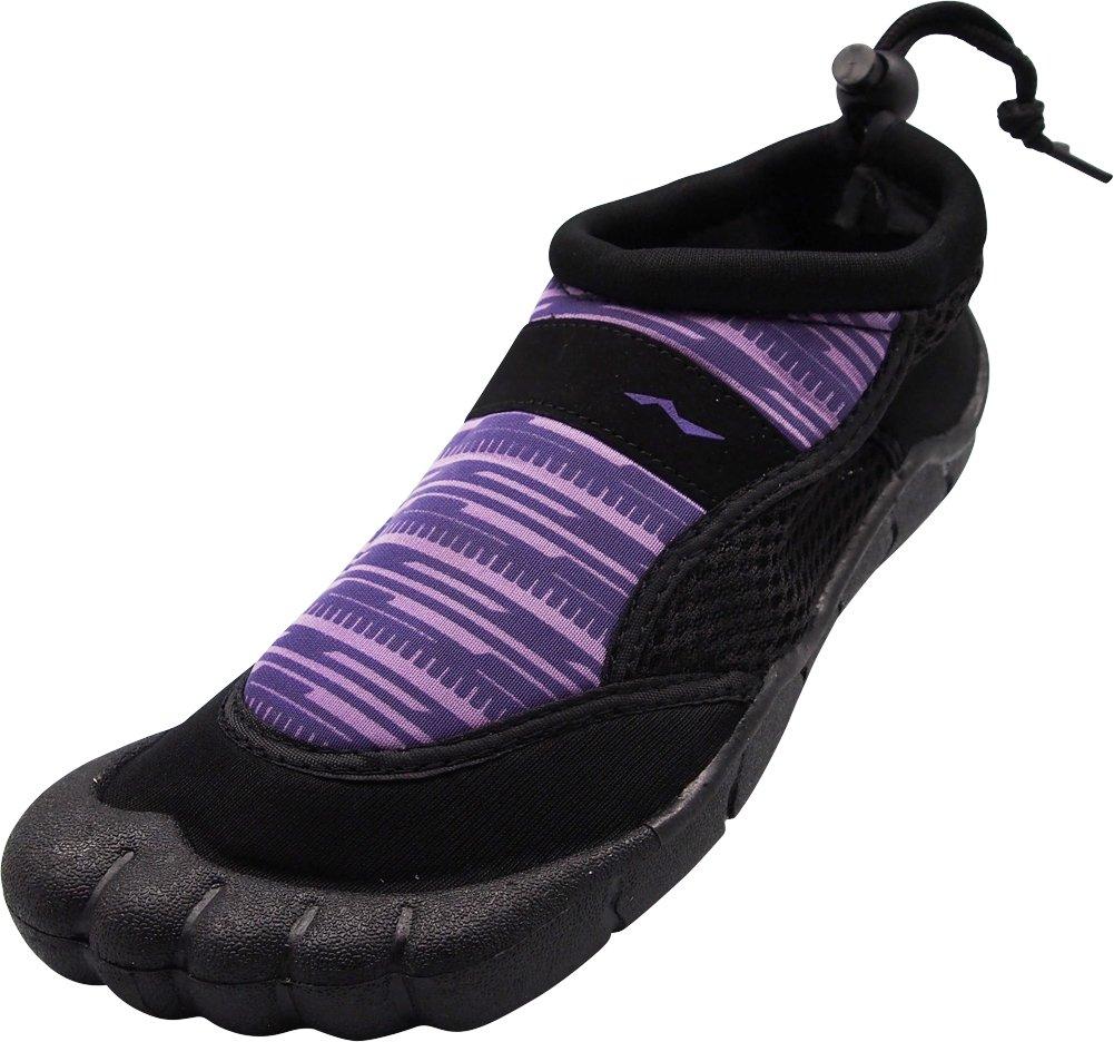 NORTY - Ladies Skeletoe Techno Print Aqua Water Shoes for Pool Beach, Surf, Snorkeling, Exercise Slip on Sock, Purple, Black 40361-10B(M) US