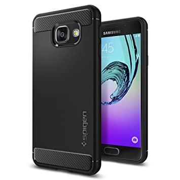Samsung Galaxy A3 2016 Hülle, Spigen® [Rugged Armor] Karbon Look [Schwarz] Elastisch Stylisch Soft Flex TPU Silikon Handyhüll