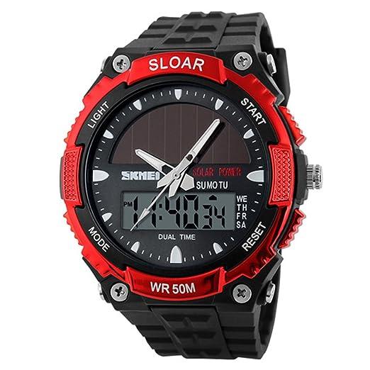 amstt Hombres solar reloj para niños relojes militares 5 Atm resistente al agua analógico Digital al aire libre deporte watchwatches cronómetro, ...