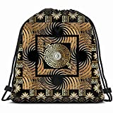 3 D Greek Key Meanders Square Panel Drawstring Backpack Gym Dance Bags For Girls Kids Bag Shoulder Travel Bags Birthday Gift For Daughter Children Women