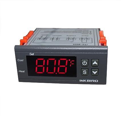 Inkbird ITC-2000 Doble Rele 220V Refrigeración o Calefacción Termostato Digital con Sonda para Calentador