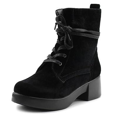 4f0bc5bc1930b Ollio Women s Shoes Velvet Lace Up Ankle Bootie Combat Boots TWB0109 (6 B(M