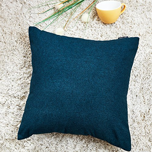 Hey Tang Cotton Linen Soft Soild Decorative Square Throw Pillow Covers Set Cushion Case for Sofa Bedroom Car 20 x 20 Inch 50 x 50 Cm,Navy Blue -