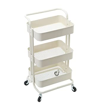 Amazon hollyhome 3 tier rolling cart metal utility cart with hollyhome 3 tier rolling cart metal utility cart with handles art cart bathroom storage cart sciox Images