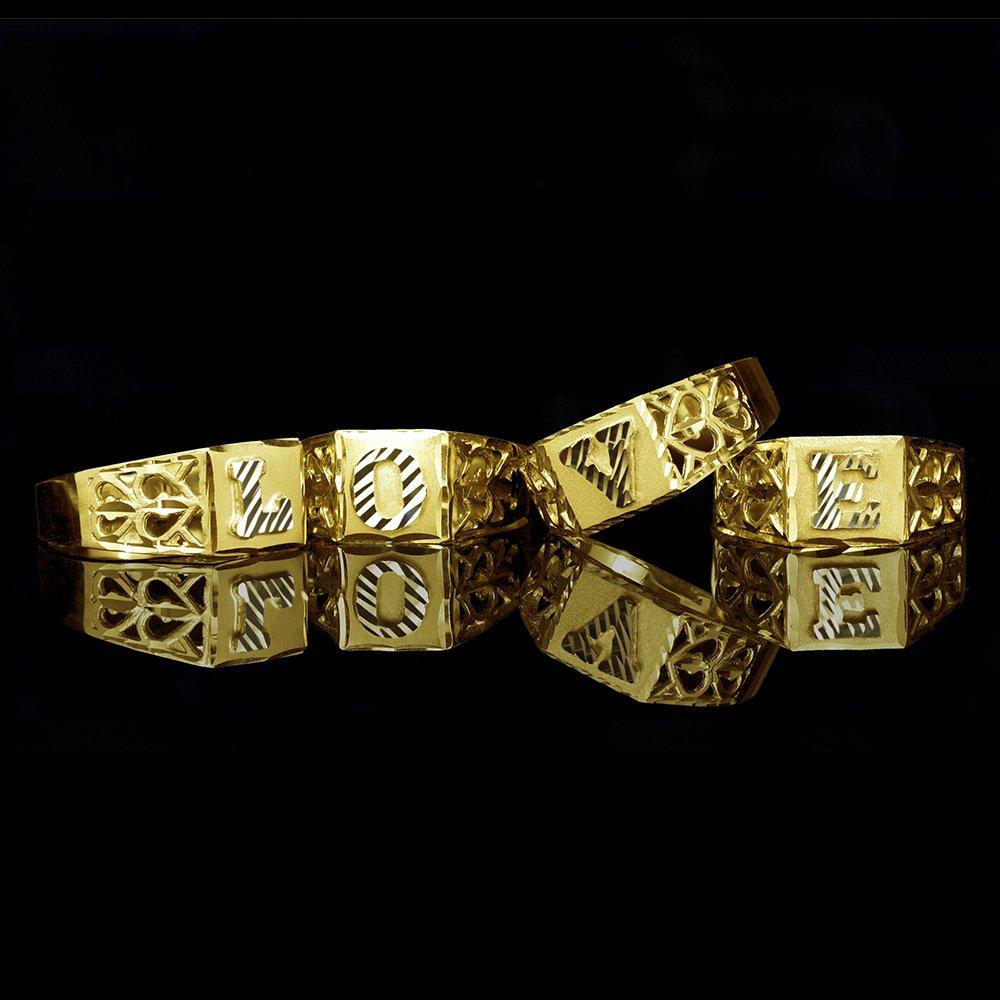 Block Lettering C LoveBling 10K Yellow Gold Diamond Cut Ladies Alphabet Initial Ring