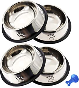 ACEONE Stainless Steel Cat Bowl, 4 Pack Metal Dog Bowls for Food and Water, Non-Slip Pet Feeding Dish Bowl with Rubber Base for Indoor Cats Small Dogs