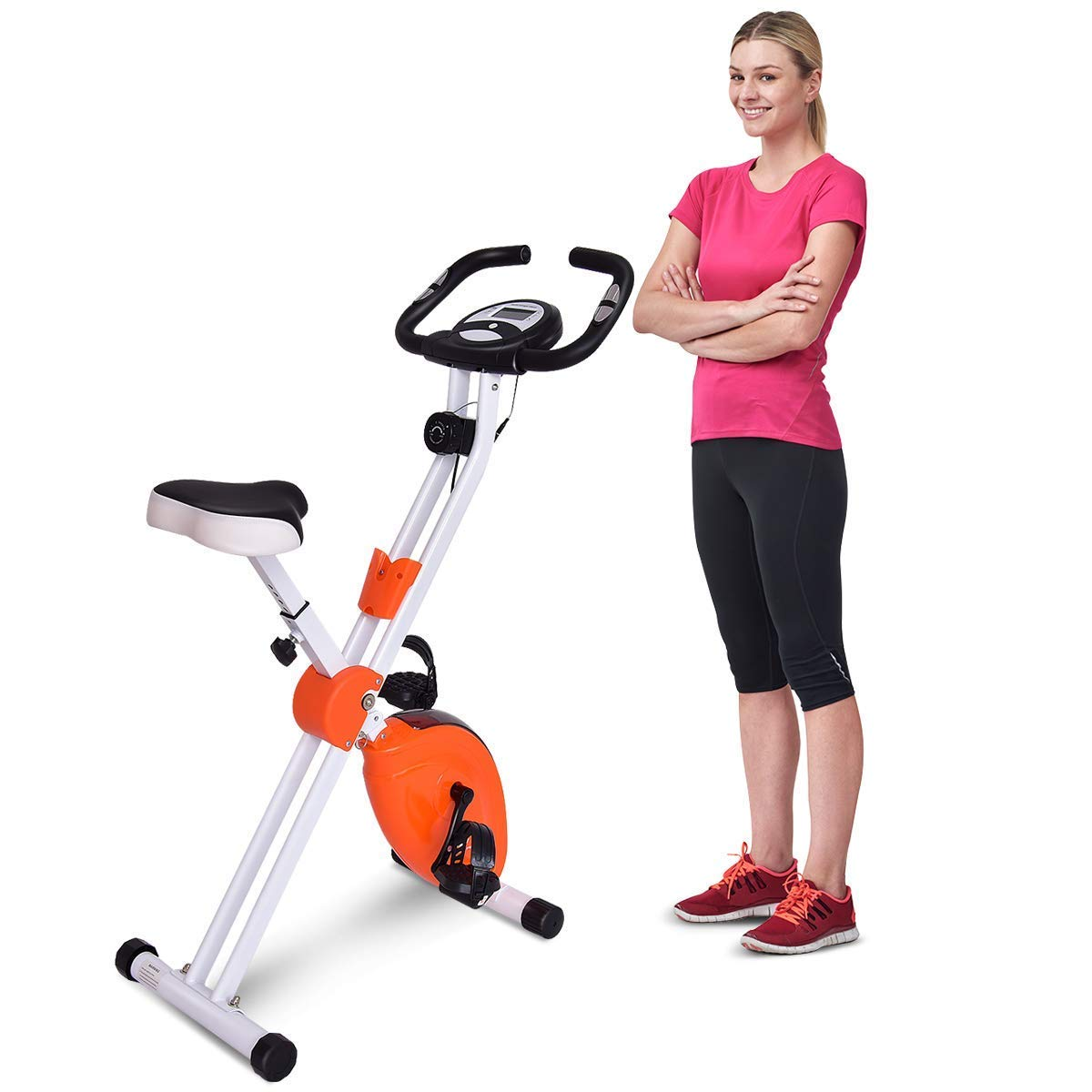 Goplus Upright Exercise Bike Stationary Bicycle 8 Resistance Levels and 7 Speed Levels Adjustable with Heart Rate Sensor and Phone Holder
