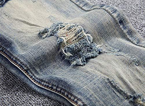 Dritti Giovane Jeans Strappati Bluegrey In Da Media Fashion Saoye Distrutti Pantaloni Uomo Vita Casual Denim A OZPnEtx