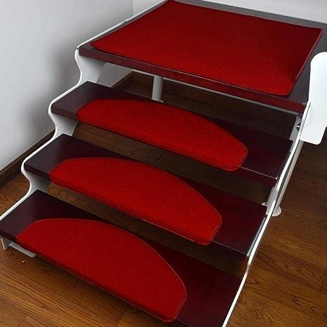 Step pad pegamento libre autoadhesivo antideslizante hebilla mágica parche poliéster color sólido alfombra de la escalera {10pcs}, rojo_55 * 21cm: Amazon.es: Bricolaje y herramientas