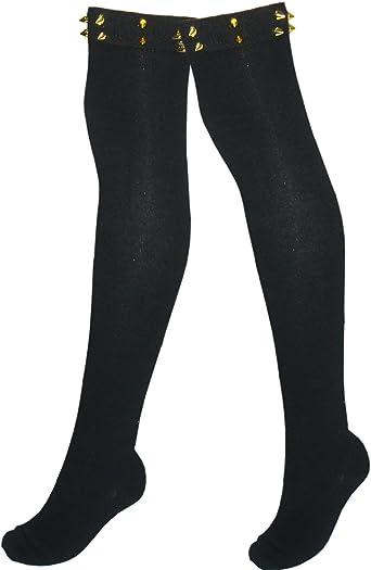 cintas JHosiery Medias de algod/ón para mujer sobre la rodilla con encaje lazos etc. esqueletos cruz