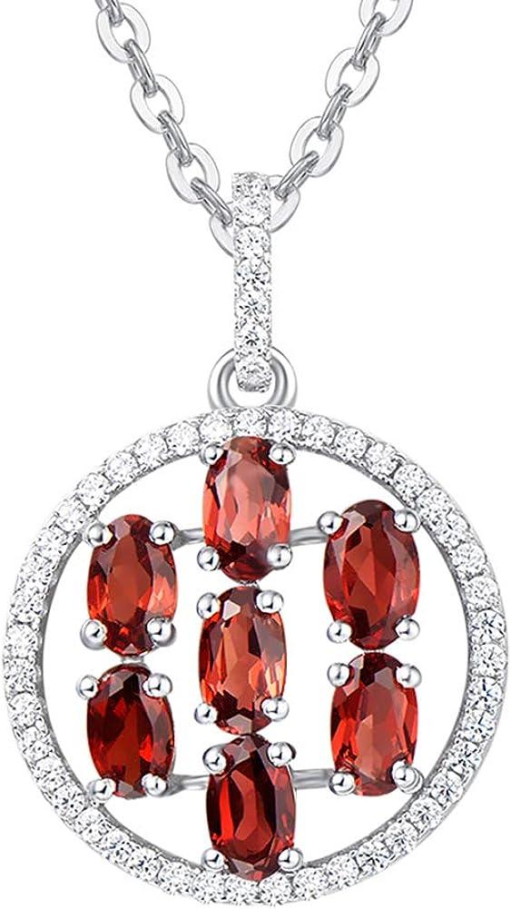 Natural Granate Piedra Preciosa Pendientes/Grande Colgante Collares para Mujer Plata de ley 925 con Granate Piedra Natal de Enero