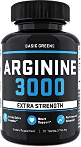 L-Arginine Nitric Oxide Booster - L Arginine Workout Supplements for Men - for Muscle Growth, Vascularity, Endurance and Heart Health (90 Tablets | 3150mg) by BASIC GREENS