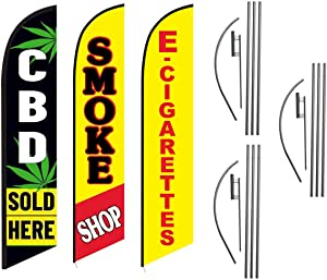 CBD Sold Here Smoke Shop E-Cig Vapor Advertising Feather Flag Kits Package, Includes 3 Banner Flags, 3 Flag Poles, and 3 Ground Stakes