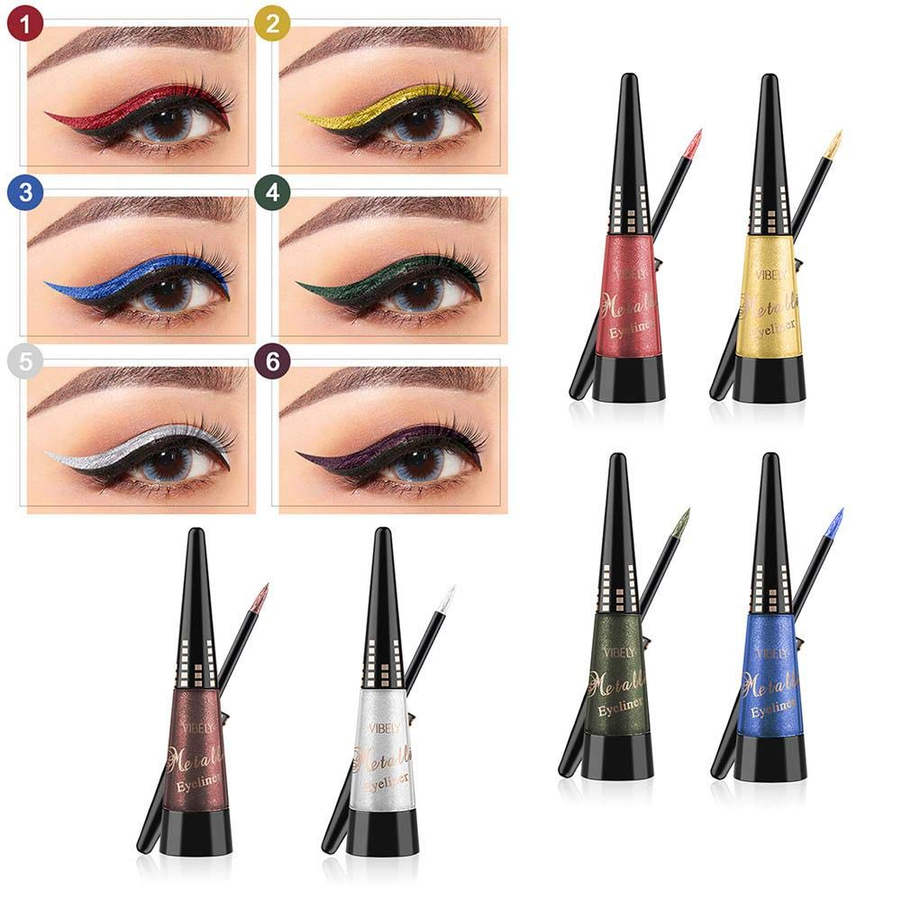 Alian Glitter Liquid Eyeliner, 6Pcs Colored Shiny Glitter Liquid Eyeliner Eye Shadow Durable Waterproof Shimmer High Pigmented Metallic Colorful Eyeliners