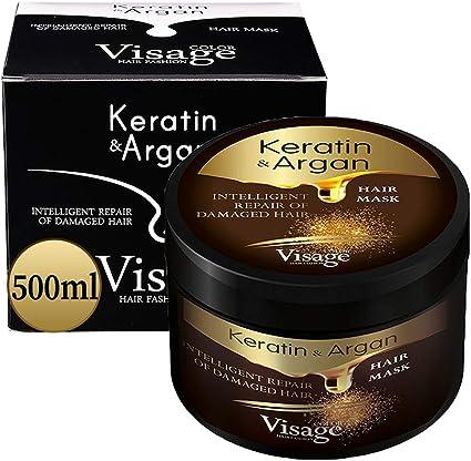 VISAGE Mascarilla capilar con aceite de argán y queratina | Tratamiento capilar para cabello dañado y seco | Hidratante, sin experimentos con ...
