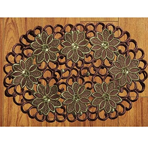 Embroidered Mat Standard - yazi Oval Embroidered Flower Fabric Placemats Dining Table Doily Coasters Set of 4,Thanksgiving Day Gift