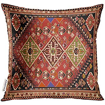 Golee Throw Pillow Cover Abstract Persian Carpet Tribal and Changing Colors and Arabesque Border Decorative Pillow Case Home Decor Square 20x20 Inches Pillowcase