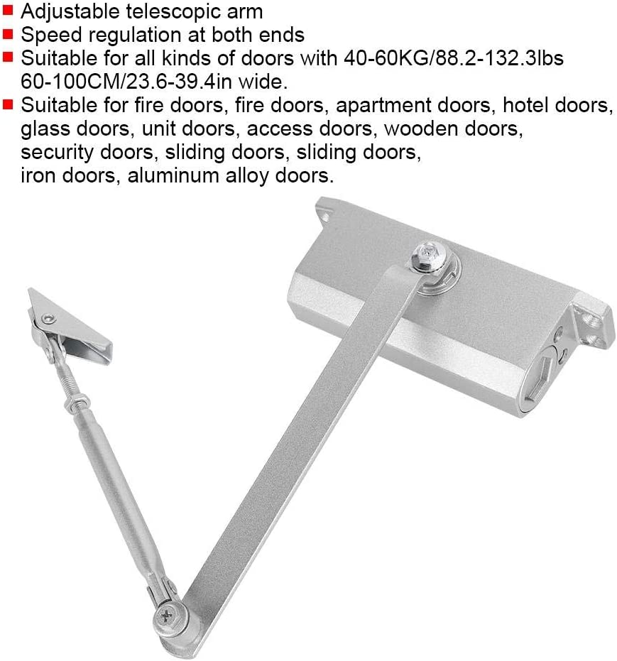 Fireproof Door Closer Commercial Adjustable Closure Angle Door Hardware Door Security System Factory for 40-60KG 60-100CM Doors Hotel doors Community