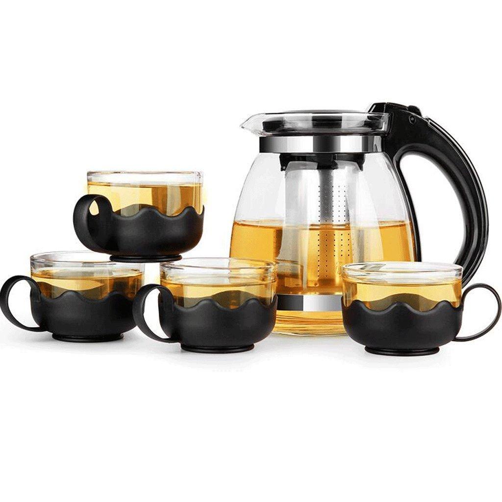 Tetera LXF Filtro Vidrio Resistente al Calor Vaso de té Espeso Té de Flores té Juego de té 4 Tazas (Color : B)