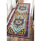 2'6 x 8' Traditional Vibrant Vines Ornamental Multi Color Runner Rug, Polypropylene Soft Plush Pink Royal Fancy Bright Casual Country Floral Oriental Dining Room Hallway Indoor Accent Carpet