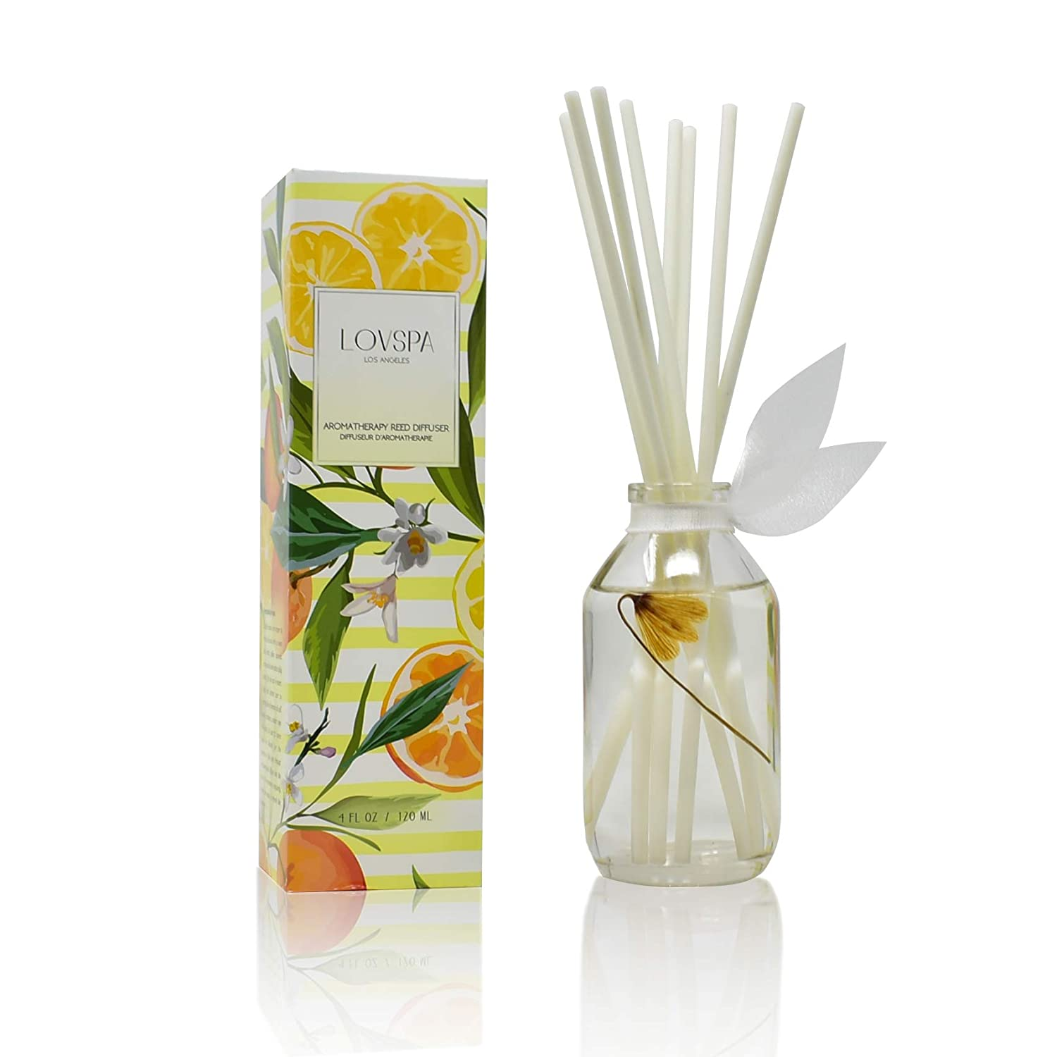 LOVSPA Coastal Citrus Scented Reed Diffuser Oil and Sticks Gift Set   Air Freshener for Bathroom, Bedroom Kitchen or Living Room   Best Housewarming Gift Idea for Women and Men   Made in The USA
