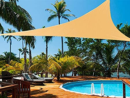Shatex Triangle Shade Sail UV Block Fabric 20ft Wheat with Steel D-rings Wheat