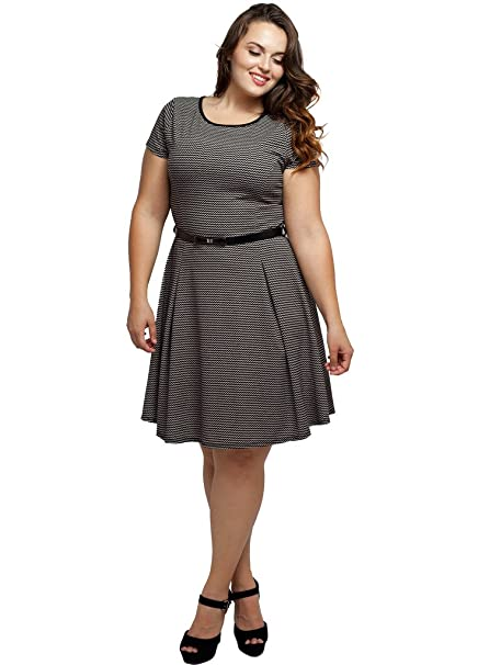 Stylzoo Women\'s Junior Plus Size Stetch Crew Neck A Line Dress with Belt