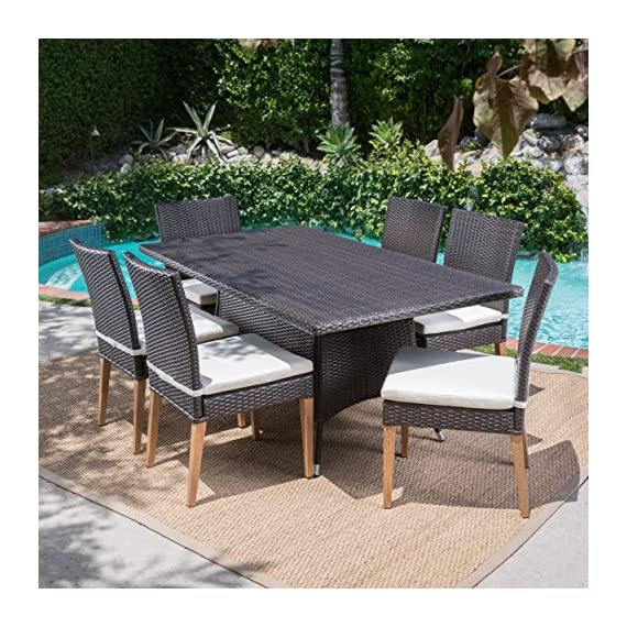 Christopher Knight Home Santa Monica Outdoor Rectangular 7 Piece Multibrown Wicker Dining Set with Beige Water Resistant Cushions -  - patio-furniture, dining-sets-patio-funiture, patio - 61s4%2BAHh5FL. SS570  -